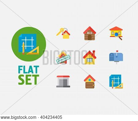 Building Icons Set. Key And Building Icons With Home Loan Approved, Garage And Finances. Set Of Sale
