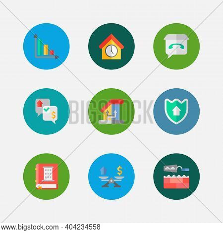 Property Icons Set. Leased And Property Icons With Property Valuation, Progress Down And Home Securi