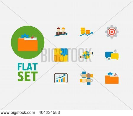 Technology Cooperation Icons Set. Cooperation And Technology Cooperation Icons With Successful Partn