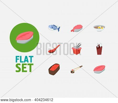 Food Icons Set. Gunkan And Food Icons With Saba Nigiri, Egg Soup And Fork With Spoon. Set Of Prepare