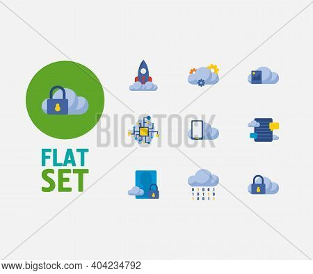 Cloud Technology Icons Set. Artificial Intelligence And Cloud Technology Icons With Blog Storage, Im
