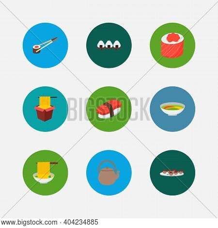 Food Icons Set. Maguro Nigiri And Food Icons With Rice Ball, Soup And Spaghetti. Set Of Product For