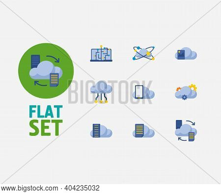 Cloud Technology Icons Set. Machine Learning And Cloud Technology Icons With Data Storage, Cloud Net