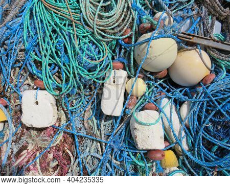 Detail Of Tangle Of Old Fishing Ropes And Polystyrene Buoys. Ropes And Buoys, Caribbean Artisanal Fi