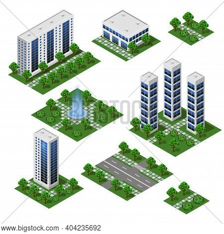 3d City Modern Buildings. Isometric City Modules Isolated, Street, Business And Office Buildings, Ho