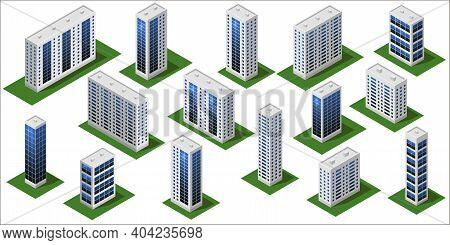 3d Modern City Buildings. Isometric City Modules Isolated With Big Houses, Office Buildings, Skyscra