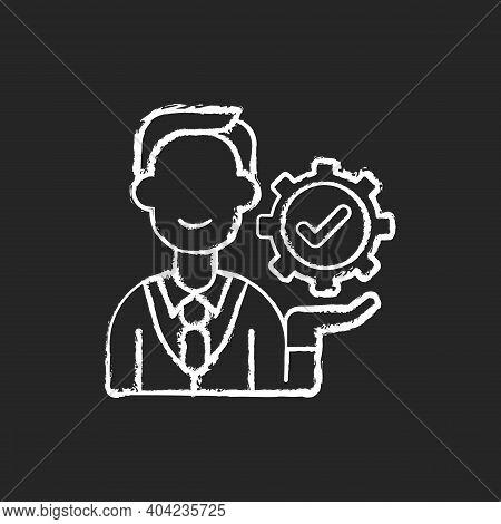 Management Chalk White Icon On Black Background. Organization Goals Accomplishment. Forward Planning