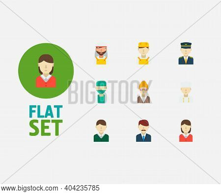 Professional Icons Set. White Worker And Professional Icons With Plane Pilot, Arab Worker And Chef.
