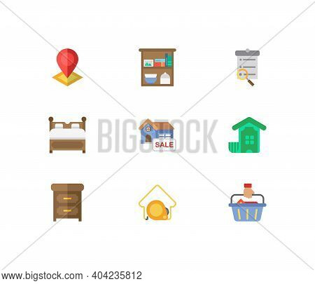 Real Estate Icons Set. House For Sale And Real Estate Icons With Search Listing, Investment And Furn
