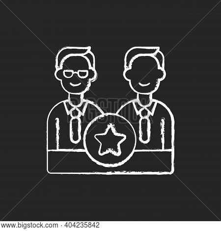 Directorate Chalk White Icon On Black Background. Membership On Directors Board. Executive Staff. Sp
