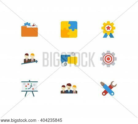 Technology Partnership Icons Set. Teamwork And Technology Partnership Icons With Successful Partners