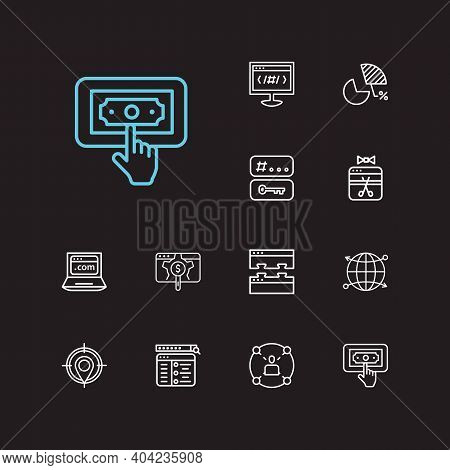 Engine Icons Set. Apps Development And Engine Icons With Setup Campaign, Launch And Social Network.