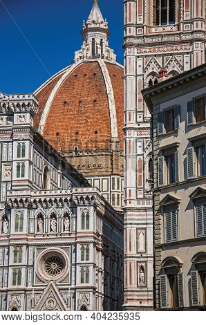 Dome Of The Santa Maria Del Fiore Cathedral And Giotto's Campanile - Bell Tower - In Florence. The A
