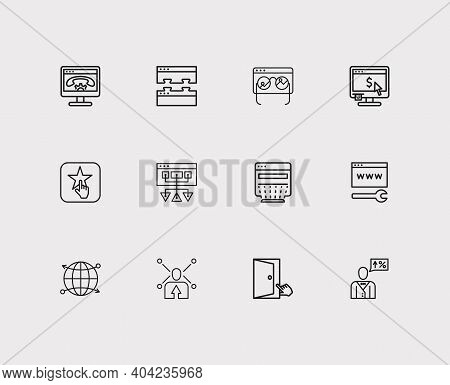 Engine Icons Set. Web Development And Engine Icons With Accessibility, Customer Review And Sitemap.