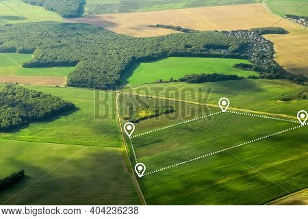 Land Plot Consist Of Aerial View Of Greenfield, Position Point And Boundary Line To Show Location An