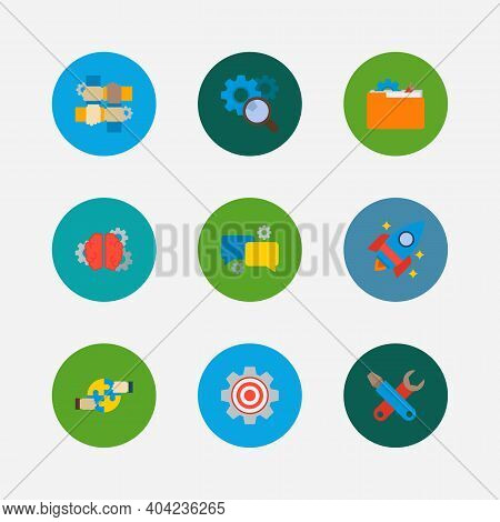 Technology Cooperation Icons Set. Cooperation And Technology Cooperation Icons With Technical Develo