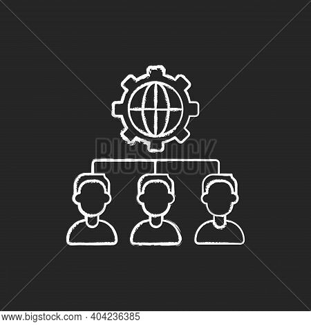 Outsourcing Chalk White Icon On Black Background. Obtaining Goods And Services From Foreign Supplier
