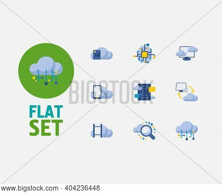 Cloud Technology Icons Set. Search And Cloud Technology Icons With Image Storage, Blog Storage And C