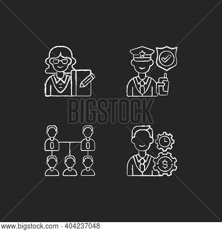 Corporation Hierarchy Chalk White Icons Set On Black Background. Secretary. Service Staff. Organic C