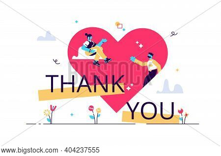 Thank You Vector Illustration. Gratitude Banner Flat Tiny Persons