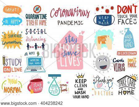Coronavirus Covid-19 Lettering Doodle Banner Digital Sticker Concept. Collection Set Of Illustration