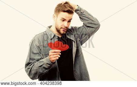 Guy Well Groomed Hold Heart White Background. Romantic Macho. Man With Beard Celebrate Valentines Da