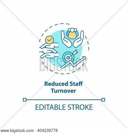 Reduced Staff Turnover Concept Icon. Staff Training Idea Thin Line Illustration. Building Employee E