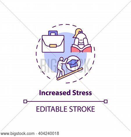 Increased Stress Concept Icon. Staff Training Disadvantage Idea Thin Line Illustration. Failure To M