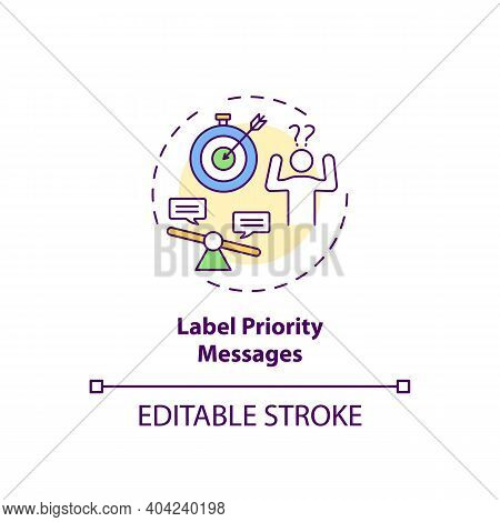 Labeling Priority Messages Concept Icon. Staff Reboarding Tip Idea Thin Line Illustration. Setting W