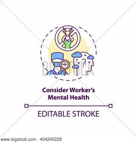 Considering Worker Mental Health Concept Icon. Staff Reboarding Idea Thin Line Illustration. Workpla