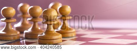 Chess On The Chessboard, Army Of White Pawns On The Chessboard.