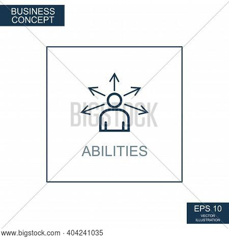 Business Concept, Web Icon From Thin Lines. Abilities - Vector