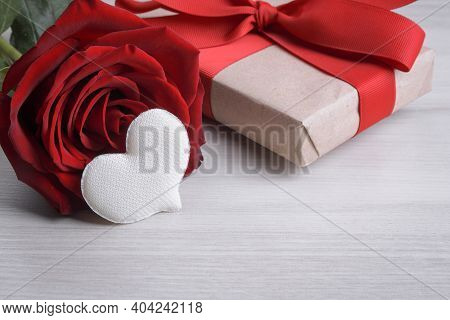 Background For Valentine's Day Greeting Card.valentines Day Concept.red Gift Ribbons, Gifts, Hearts