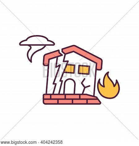 Climate Change Red Rgb Color Icon. Destruction Of Houses Due To Natural Disasters. Global Warming. I