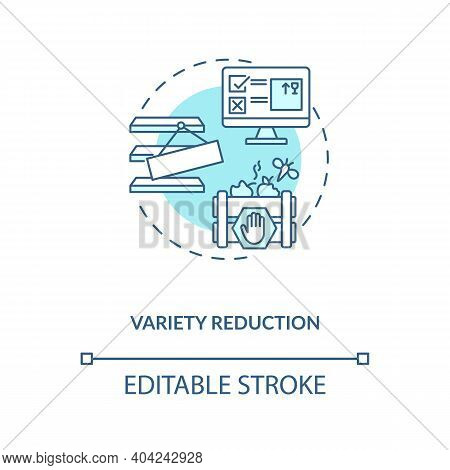 Variety Reduction Concept Icon. Cost Reduction Strategy Idea Thin Line Illustration. Manufacturing C