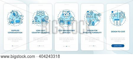 Cost Reduction Strategies Onboarding Mobile App Page Screen With Concepts. Supplier Consolidation Wa