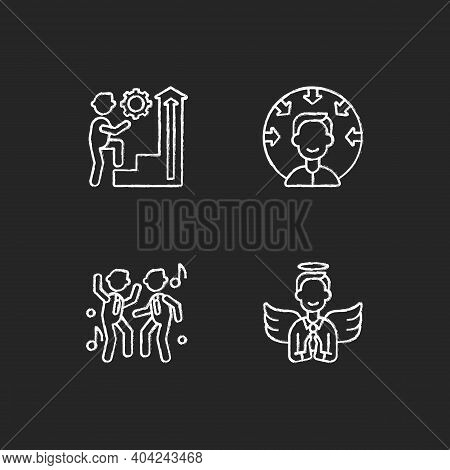 Business Vision Chalk White Icons Set On Black Background. Employee Persistence. Customer Centricity