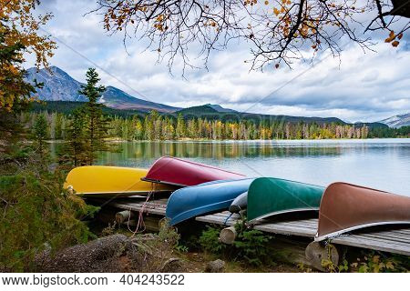 Beauvert Lake At Jasper, Canada, Canadian Lake Popular For Canoe. In The Canadian Rockies Jasper Nat