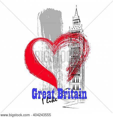 Vector Linear Illustration Of Uk Architecture. Artistic Image Of The Big Ben Tower In London With A