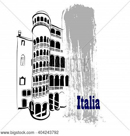 Vector Linear Illustration Of Ancient Italian Architecture. An Artistic Depiction Of A Building In I