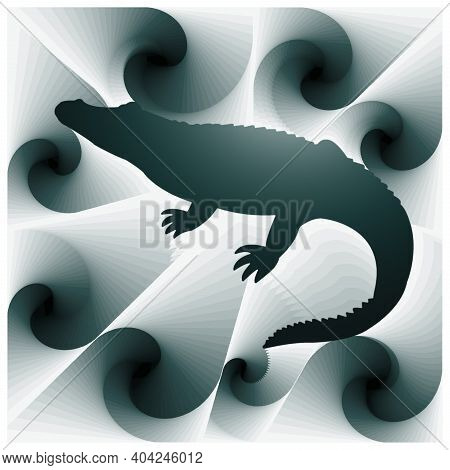 Digital Illustration With Abstract Design Of The Silhouette Of A Crocodile With Green Gradient Color