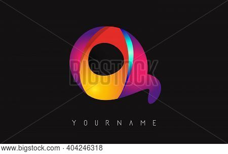 Letter Q Logo With Gradient Color Design. Business Card Templates. Colorful Rounded Vector Illustrat