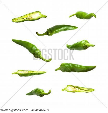 Green Fresh Chili Pepper Isolated On White Background. Seasoning For Dish, Hot Pepper, Spicy Spices