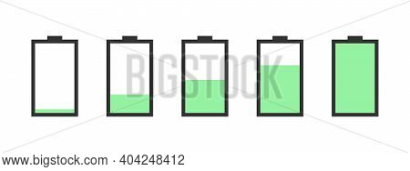 Battery Charge Indicator Icons. Battery Vector Icon Set With Charge Level Indicators. Vector Illustr