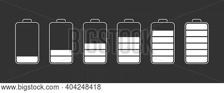 Battery Charge Level Indicators. Discharged And Fully Charged Battery Smartphone. Vector Illustratio