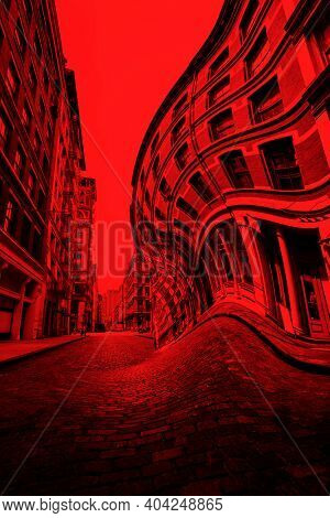 Distorted New York street with blood red filter