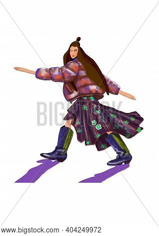 Cute Stylish Hand-drawn Fashion Flat Art Illustration Of A Walking Imaginary Long Hair Brunette Fash