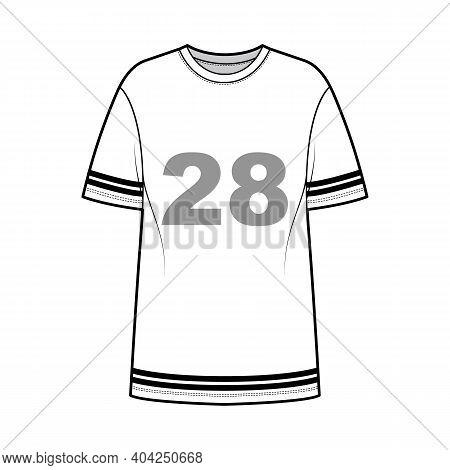 T-shirt American Football Technical Fashion Illustration With Raglan Short Sleeves, Tunic Length, Cr