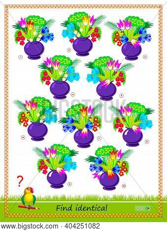 Logic Puzzle Game For Children And Adults. Find Two Identical Bouquets Of Flowers. Memory Exercises