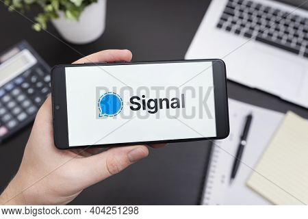 Wroclaw, Poland - Jan 20, 2021: Signal Application On Smart Phone With Android. Signal App Chosen By